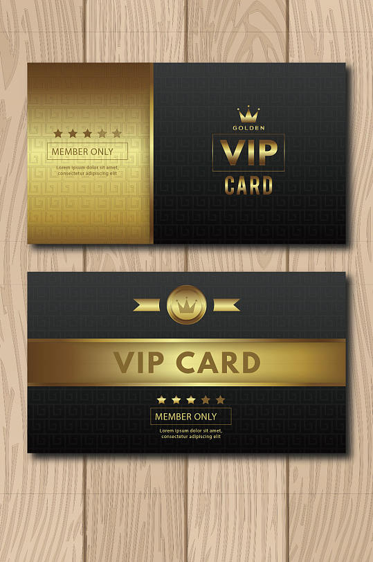 黑金奢华酒店VIP会员卡模板设计-众图网