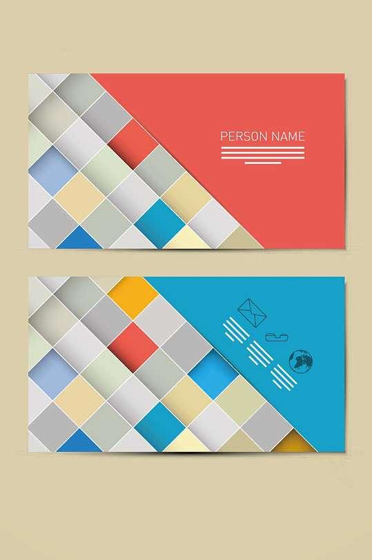 精品色块拼接名片会员卡模板设计-众图网