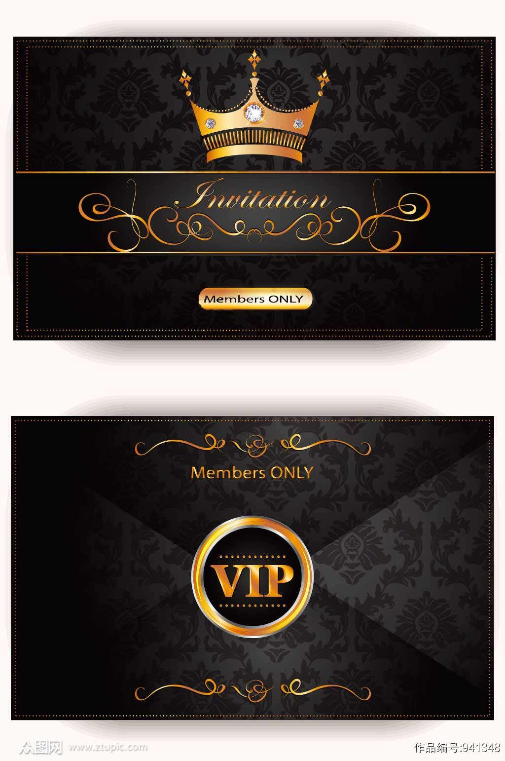 精品高端黑金DJ酒吧VIP贵宾卡模板素材