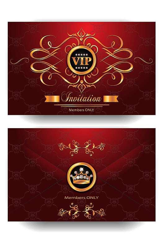精品红色奢华VIP贵宾卡模板-众图网