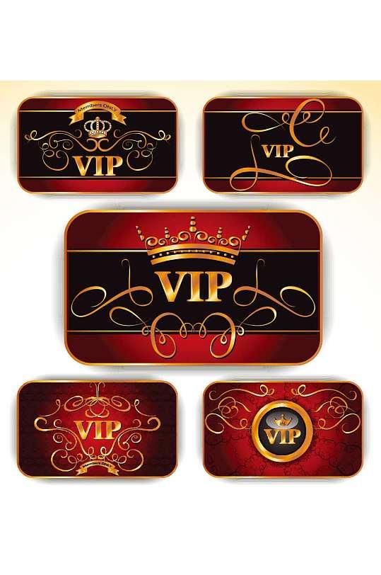 红色欧式VIP会员卡模板设计-众图网