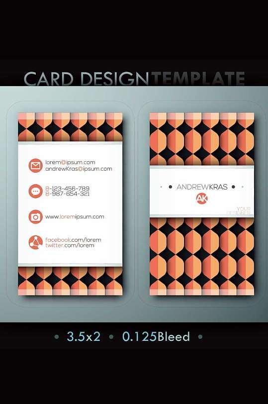 竖版几何图形名片模板设计-众图网