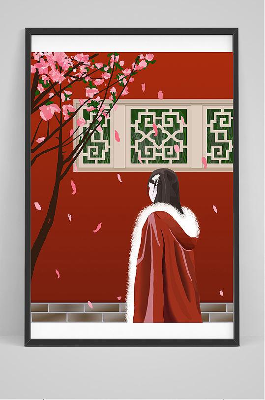 极品冬季披着长袍的美女插画设计-众图网