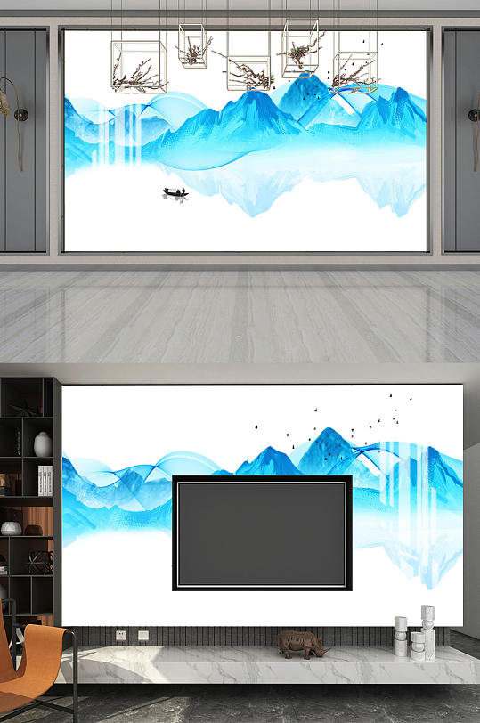 大气水墨山水电视背景墙-众图网