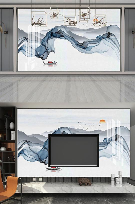 意境水墨山水电视背景墙-众图网