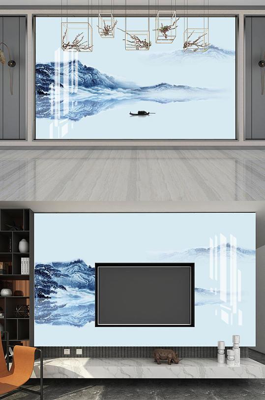 蓝色水墨山水电视背景墙-众图网