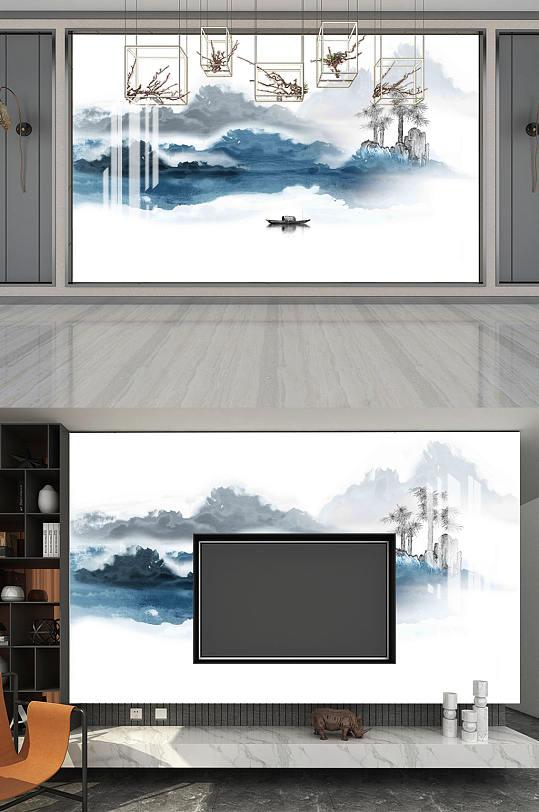 意境山水山水电视背墙-众图网
