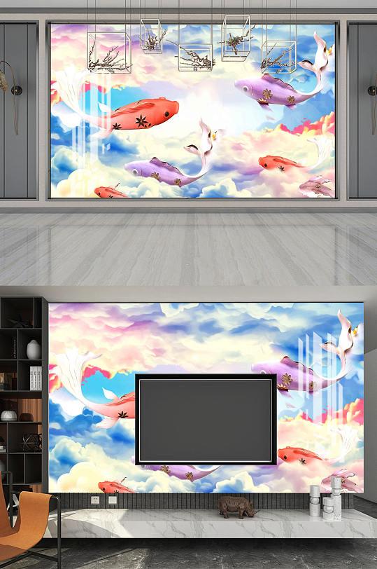 蓝天白云电视机背景墙