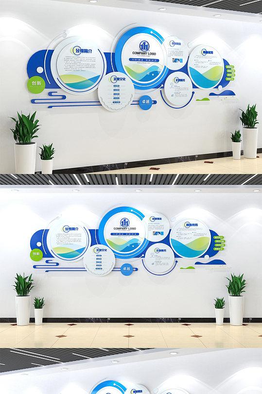 蓝色创意企业介绍文化墙