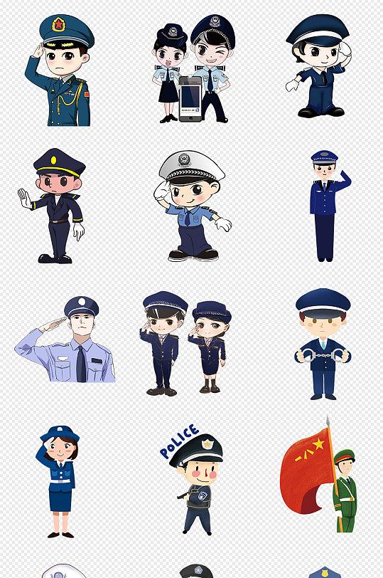 卡通警察民警公安PNG免抠素材-众图网