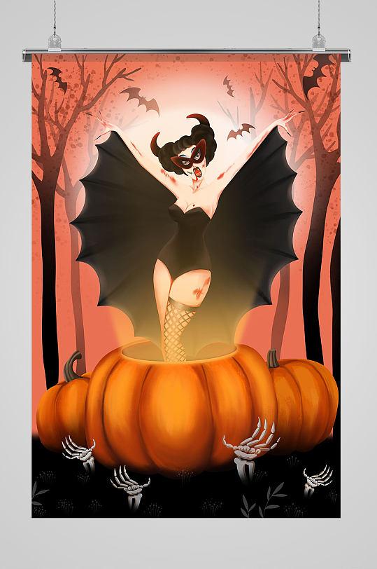 蝙蝠女出没万圣节插画