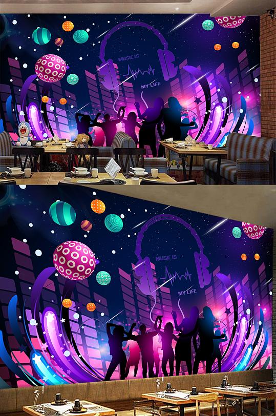 酒吧夜场炫酷音乐工装背景墙