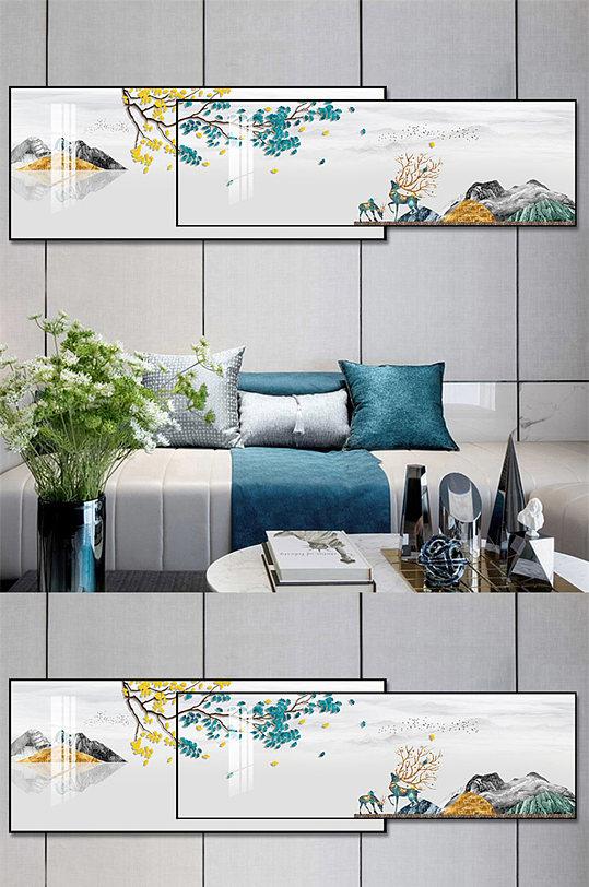 现代轻奢麋鹿叠加晶瓷画-众图网