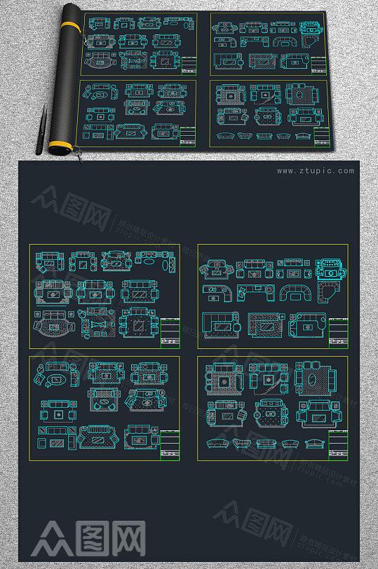 常用家装沙发CAD图库-众图网