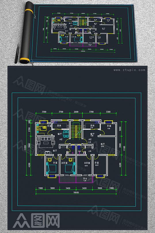 多层家装户型布局CAD参考图-众图网
