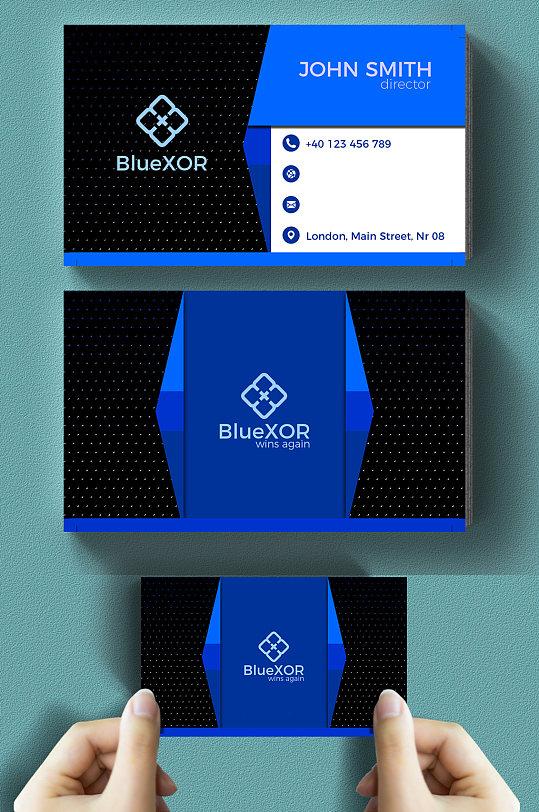蓝黑高端大气商务名片-众图网