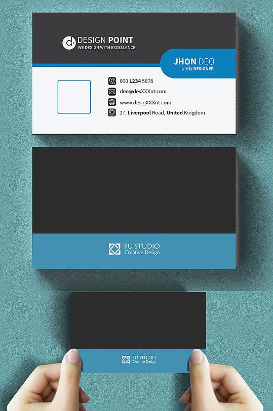 蓝白黑高端大气商务名片-众图网