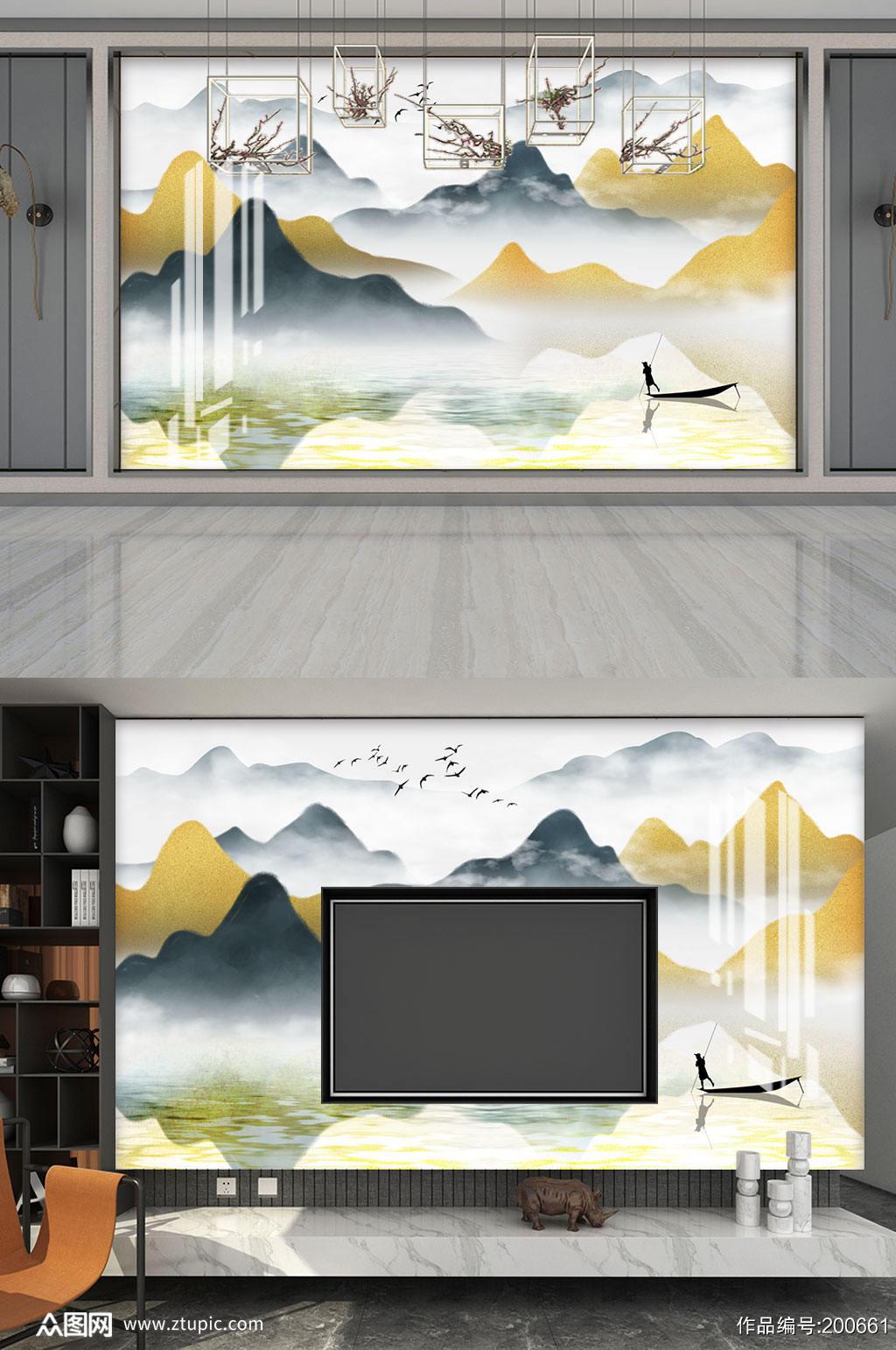 水墨山水风景意境背景墙素材