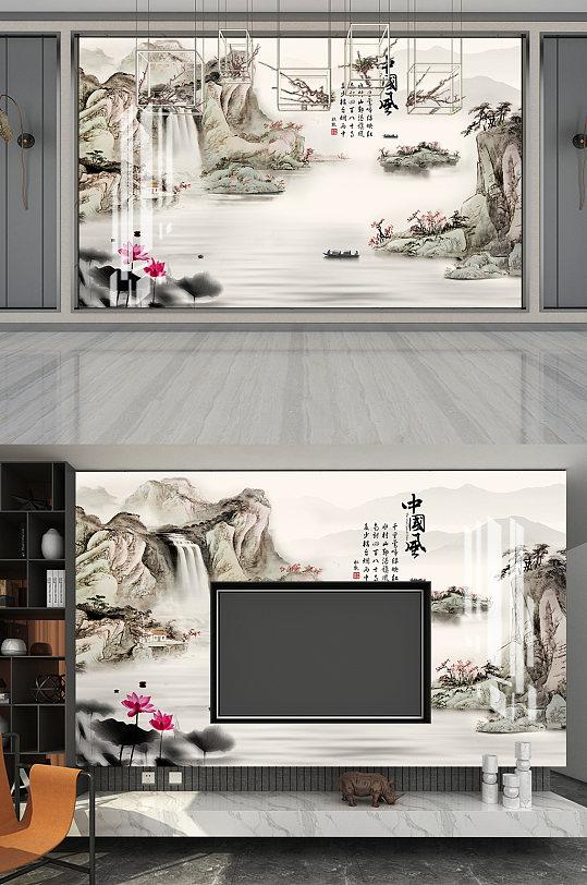 中国风水墨山水电视墙-众图网