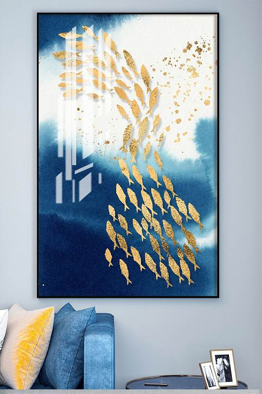 游鱼晶瓷高端鎏金装饰画-众图网