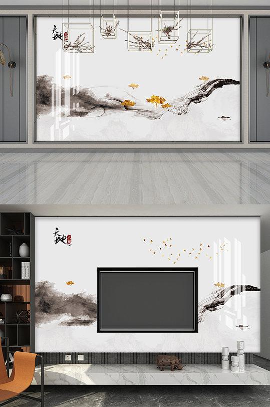 水墨风格电视背景墙-众图网