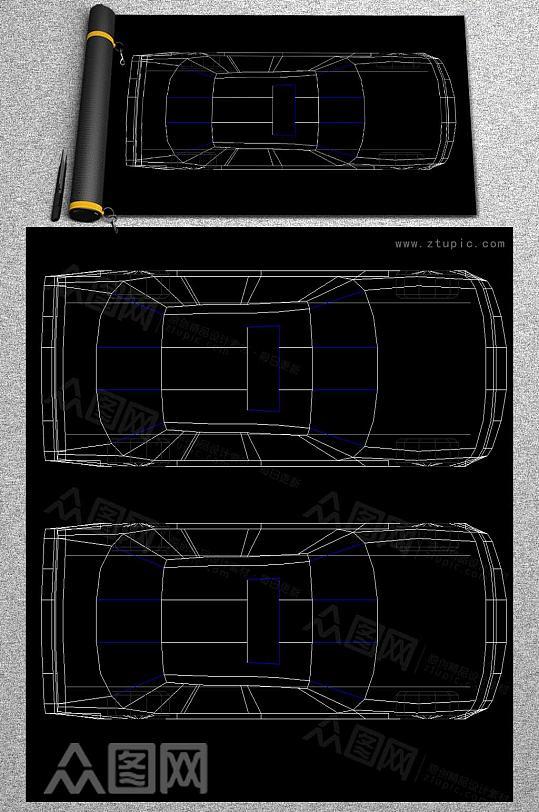 CAD汽车平面图-众图网