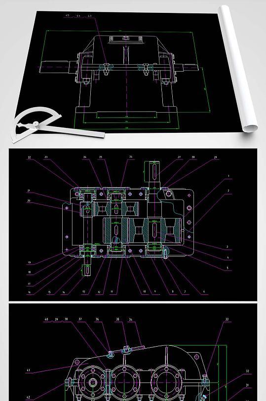 减速器CAD装配图-众图网