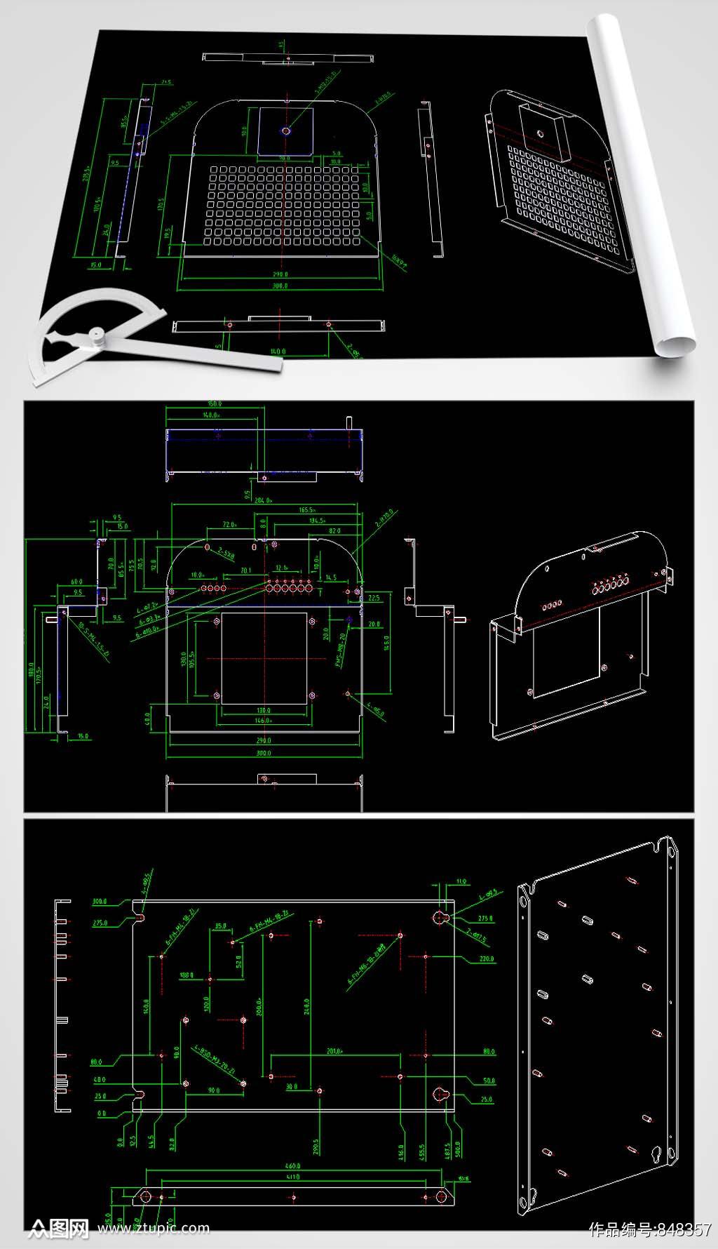 滤波器机箱CAD图纸素材