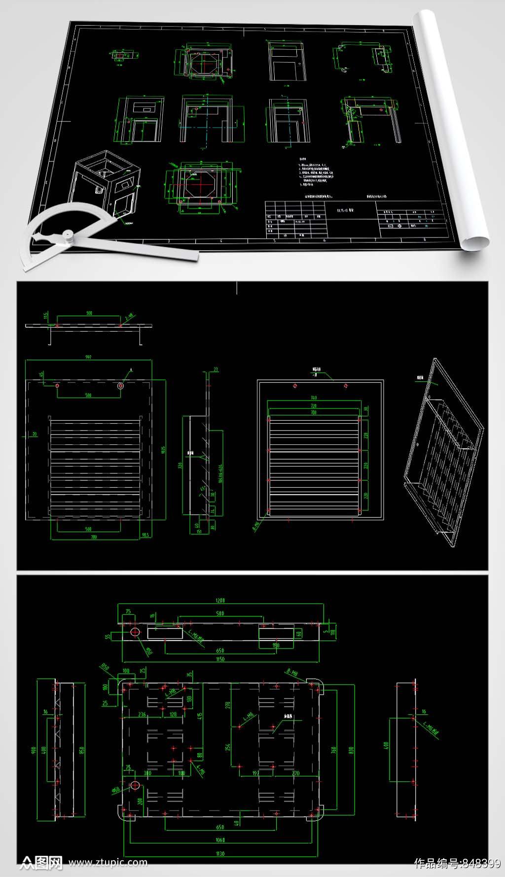 隔音罩CAD图纸素材