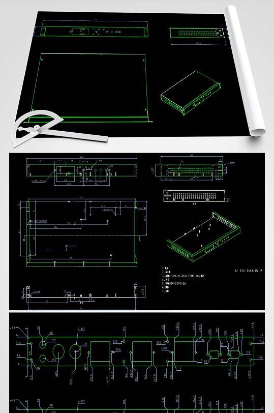 1u机箱CAD平面设计图-众图网