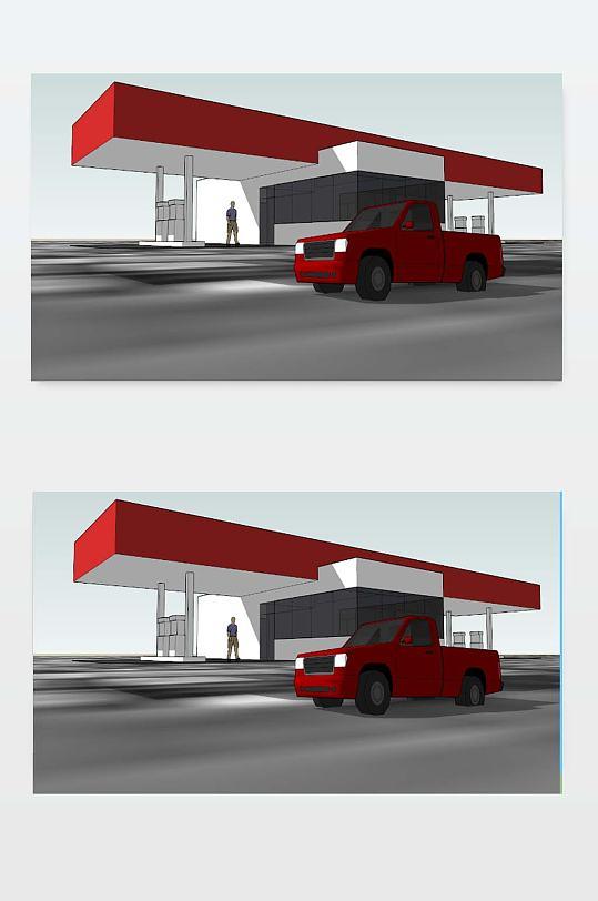 加油站SU模型下载-众图网