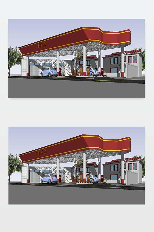 SU加油站模型下载-众图网
