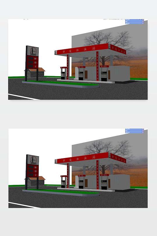 3D加油站模型下载-众图网