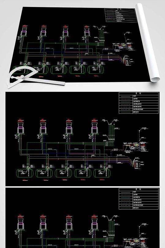 加油站CAD工艺流程图-众图网