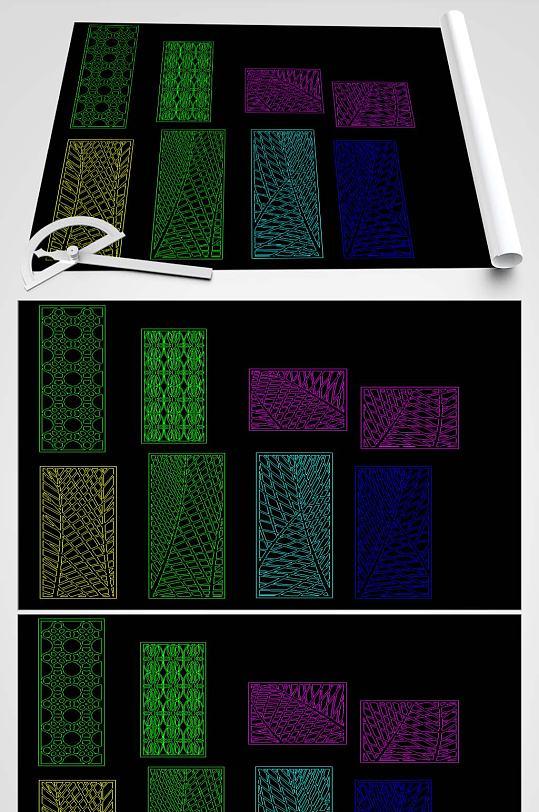 多款屏风CAD平面图-众图网