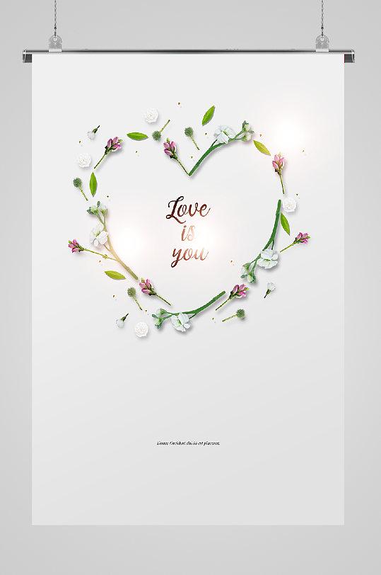 鲜花爱心宣传海报-众图网