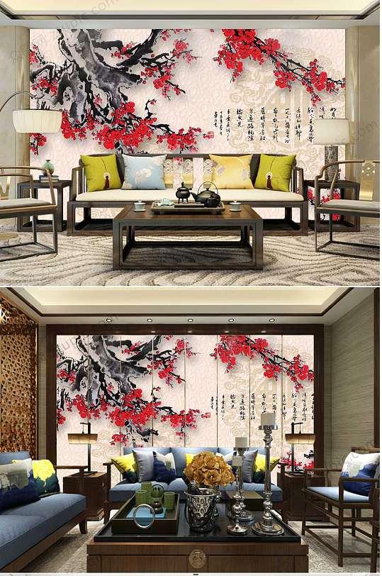 中国风水墨梅花背景墙-众图网