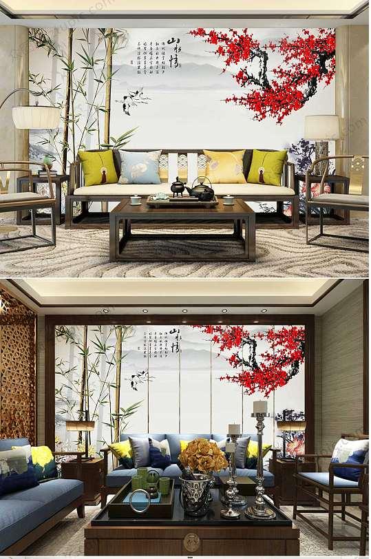水墨梅花竹子客厅背景墙-众图网