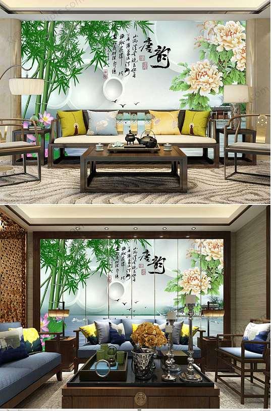 竹子牡丹花背景墙-众图网