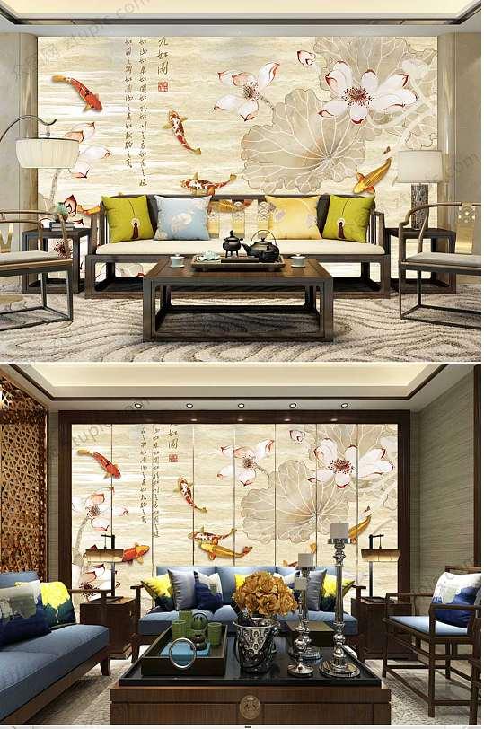 古典典雅锦鲤背景墙-众图网