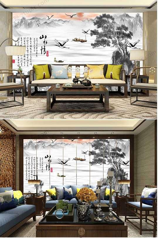 中国风山水情背景墙-众图网
