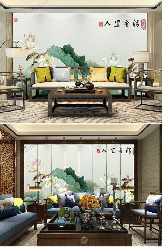 中国风水墨荷花背景墙-众图网