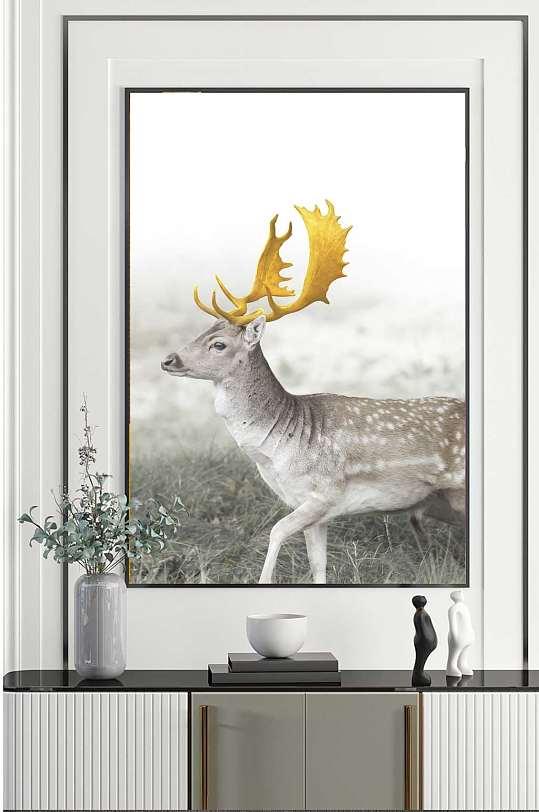 水墨风景森林麋鹿装饰画-众图网