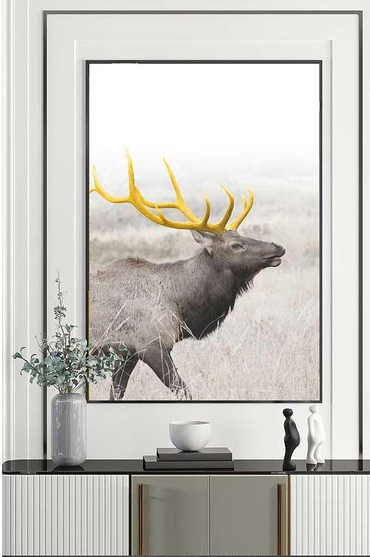 森林麋鹿玄关装饰画-众图网