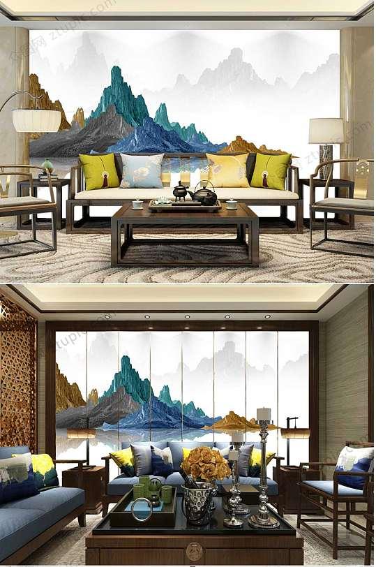 中国风水墨沙发背景墙-众图网