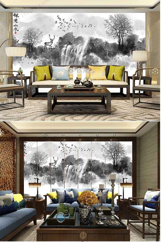 中国风水墨风景背景墙-众图网