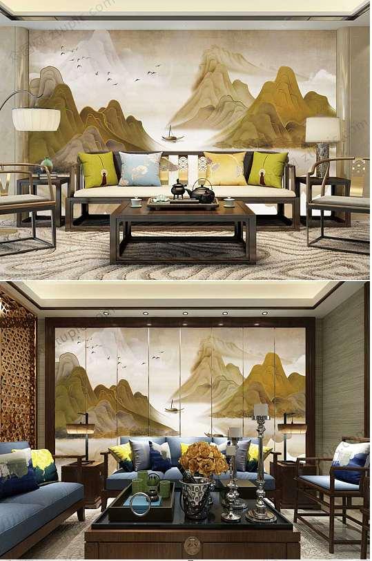 水墨山水画沙发背景墙-众图网