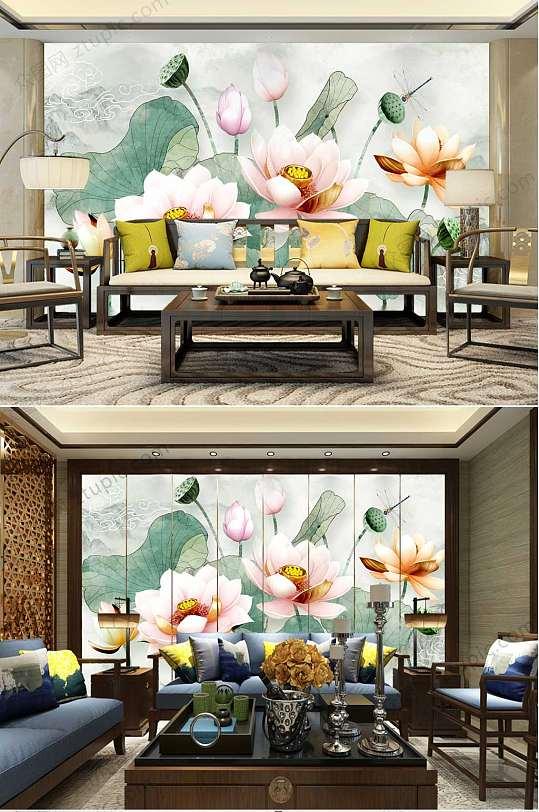 水墨荷花莲蓬客厅背景墙-众图网