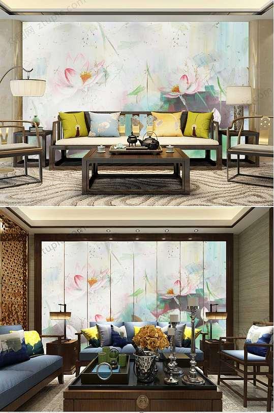 水彩中国风荷花背景墙-众图网