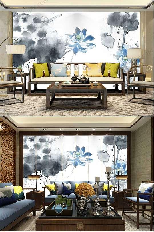 中国风墨染荷花电视背景墙-众图网